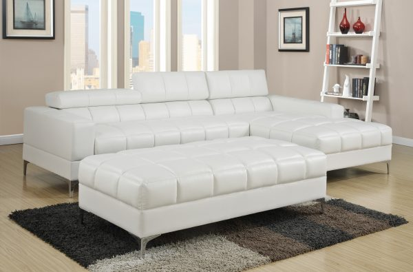 MARBELLA BONDED LEATHER SECTIONAL & OTTOMAN SET