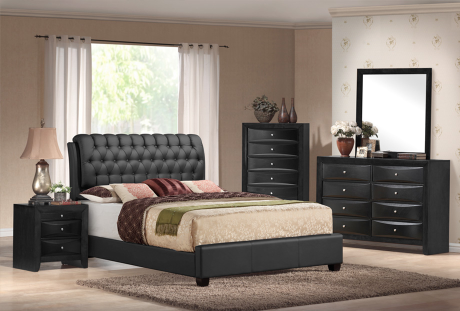 Emily Black Tufted 5 Piece Bedroom Set
