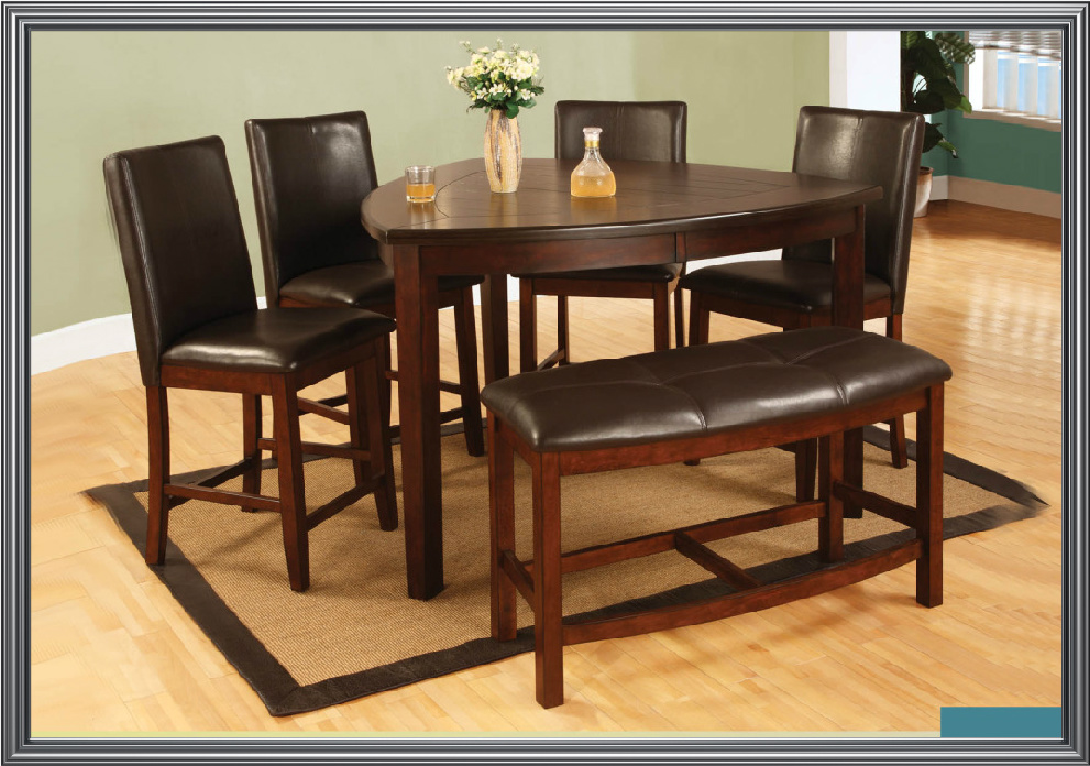 4 Chair Dining Sets milano counter height triangle table with 4 chairs and bench