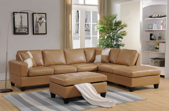 BONDED LEATHER SECTIONAL & STORAGE OTTOMAN SET