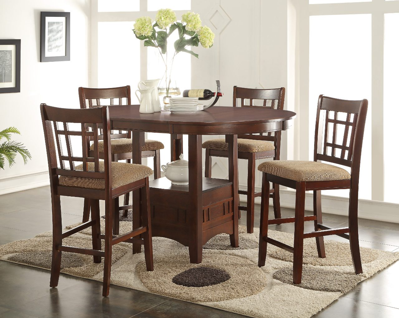 randolph counter height table with 4 chairs furniture