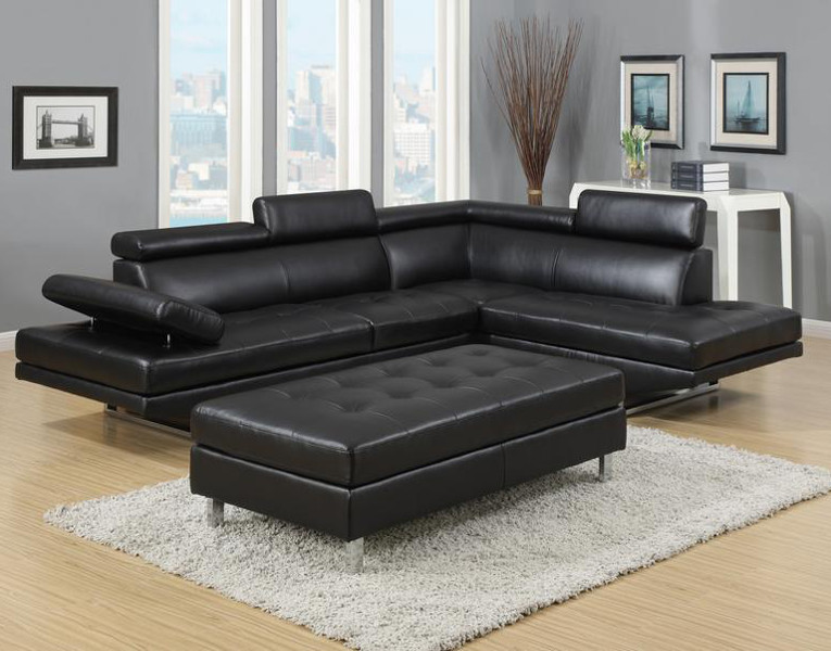IBIZA SECTIONAL AND OTTOMAN SET Furniture Distribution Center - Dark grey leather sectional sofa