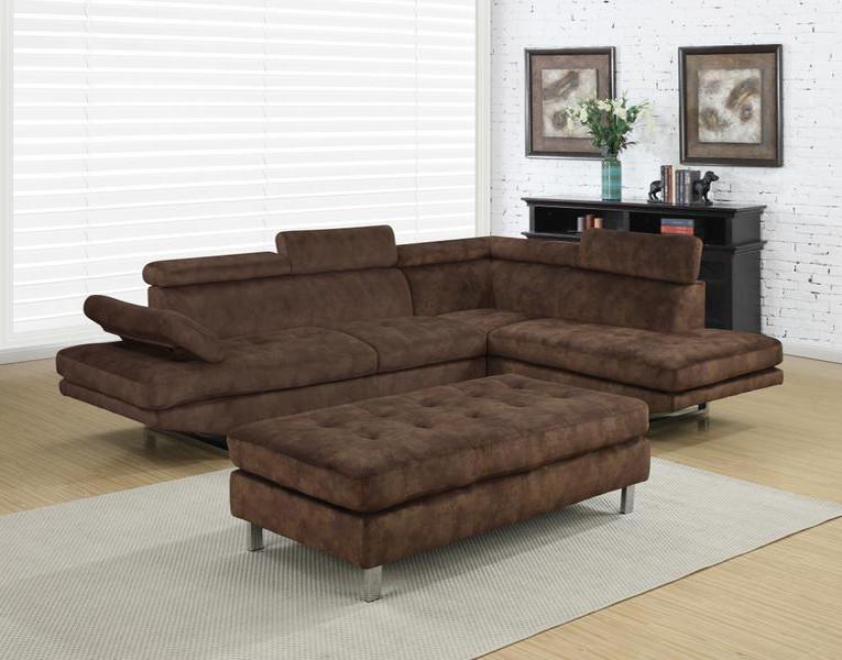 Sectional Sofa Ottoman Brown Fabric Sectional Sofa And