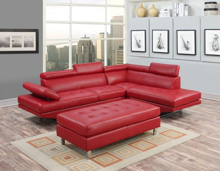 IBIZA LEATHER GEL SECTIONAL AND OTTOMAN SET
