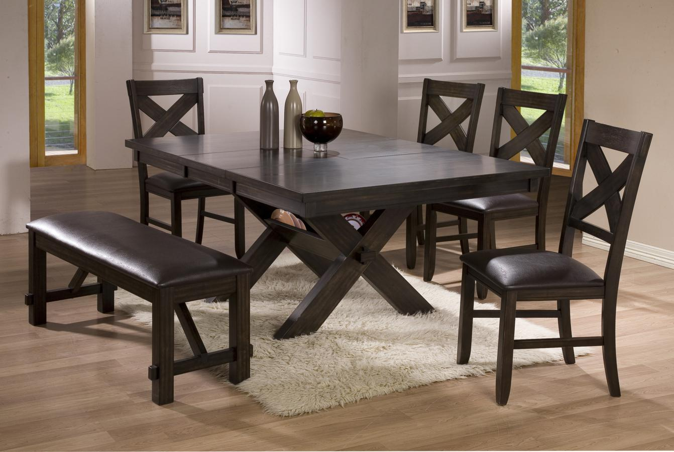 Kelly 6pc Dining Table with 4 Chairs & Bench Set