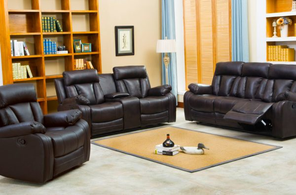 NAPLES BONDED LEATHER RECLINING & LOVESEAT