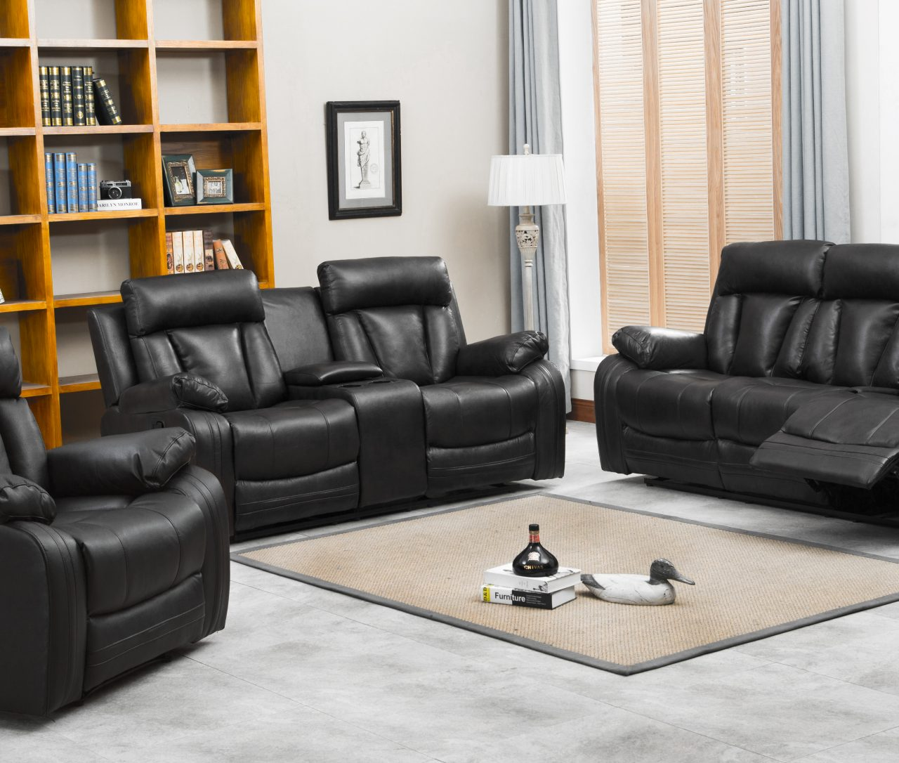 Naples Reclining Sofa Loveseat wcupholders and console set