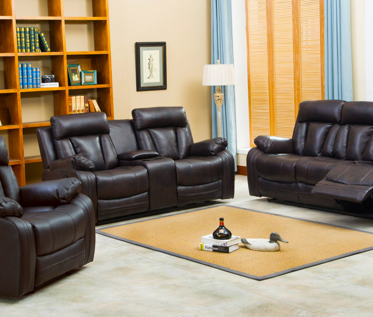 Naples reclining sofa loveseat w cupholders and console Reclining leather sofa and loveseat