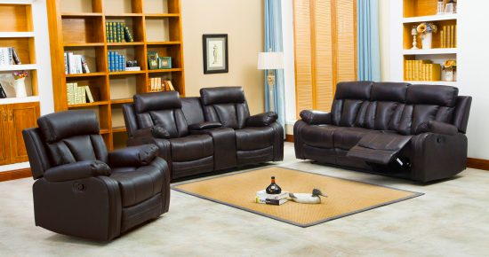 Naples Reclining Sofa & Loveseat w/cupholders and console set