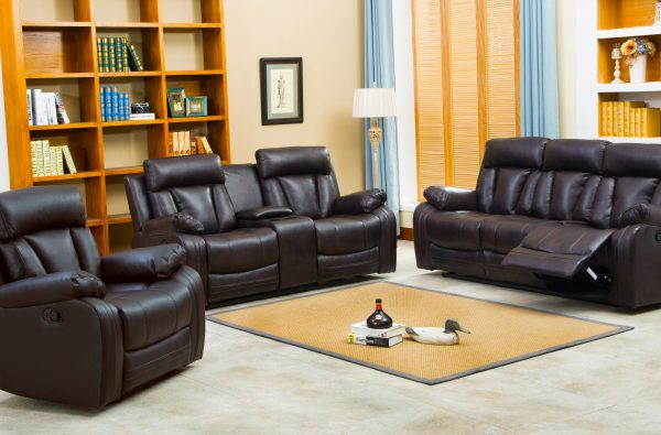 naples bonded leather reclining sofa & loveseat with console BROWN
