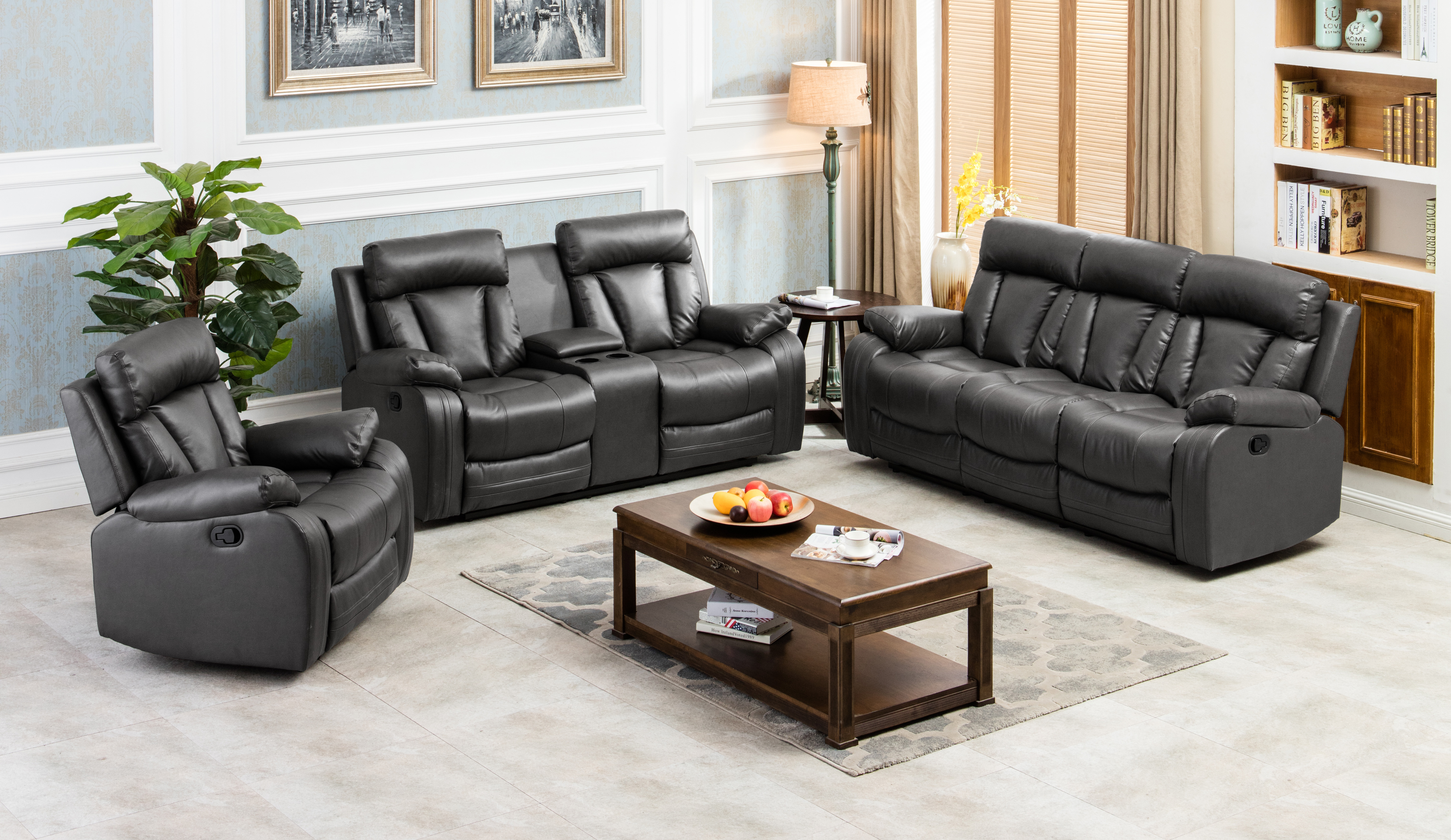 Naples Bonded Leather Reclining Loveseat W Console Set Furniture Dist