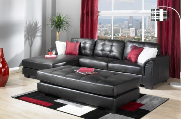 BISCAYNE BONDED LEATHER SECTIONAL & OTTOMAN SET