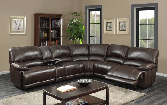 VENICE LEATHER GEL RECLINING SECTIONAL SOFA (NEW)