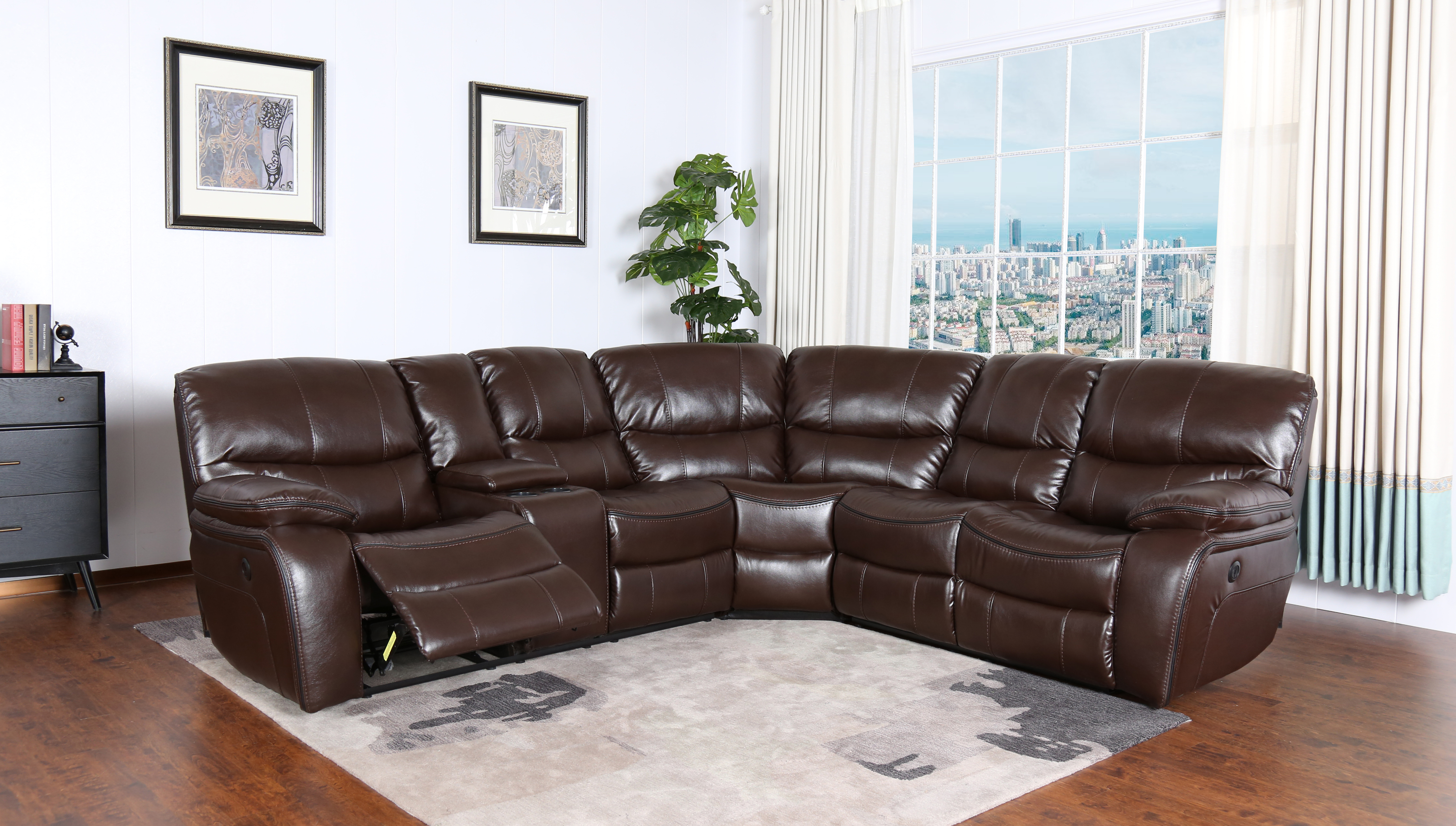 detailing dd788 0f023 MADRID POWER RECLINING SECTIONAL SOFA with CONSOLE