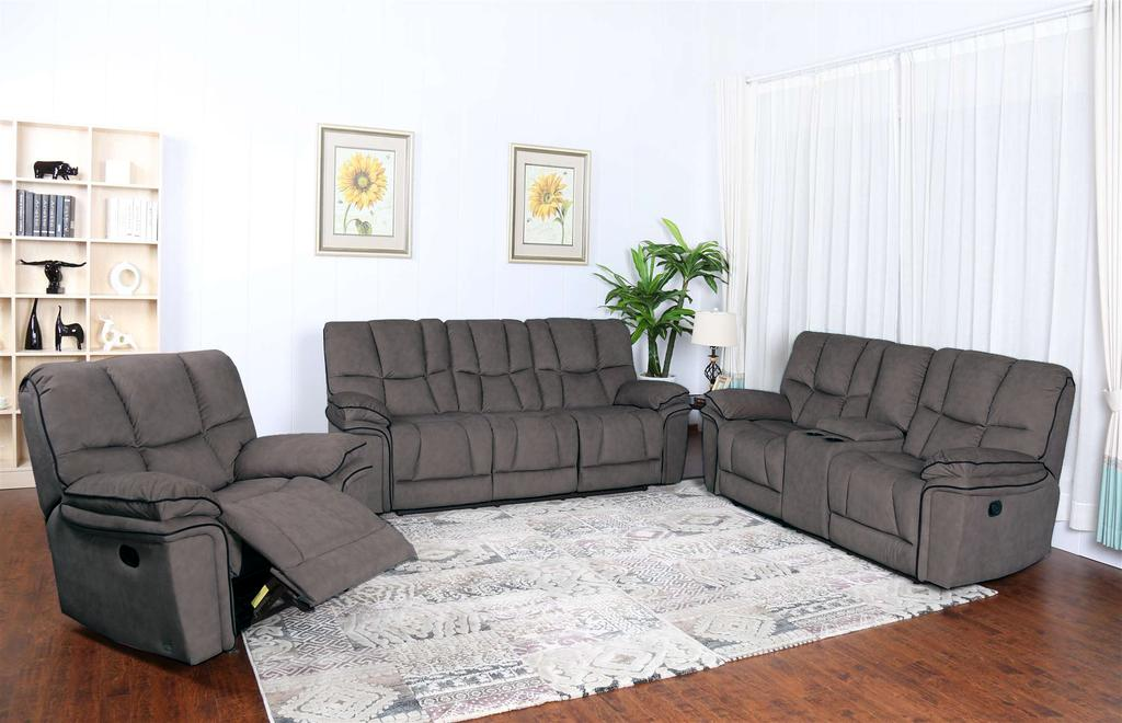 Picture of: Barcelona Reclining Sofa Loveseat And Chair Set New Furniture Distribution Center