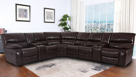 MADRID LEATHER GEL RECLINING SECTIONAL SOFA
