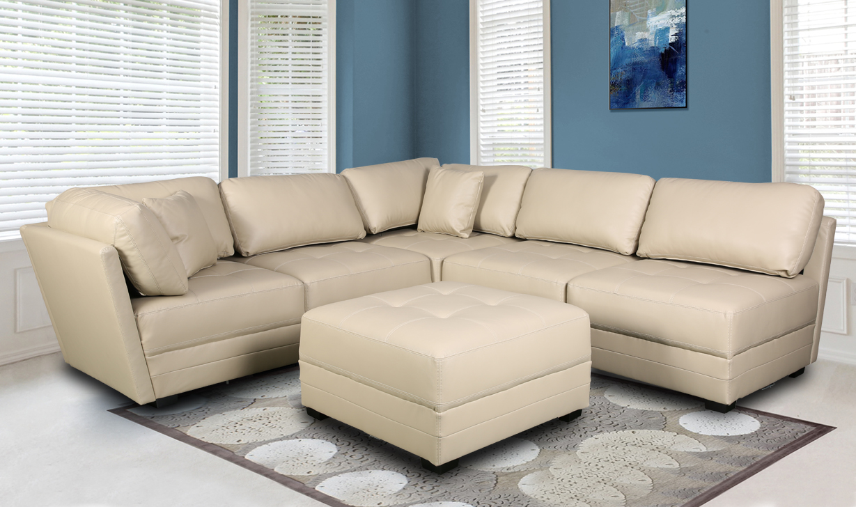 MONACO LEATHER GEL SECTIONAL SOFA AND OTTOMAN SET | Furniture ...
