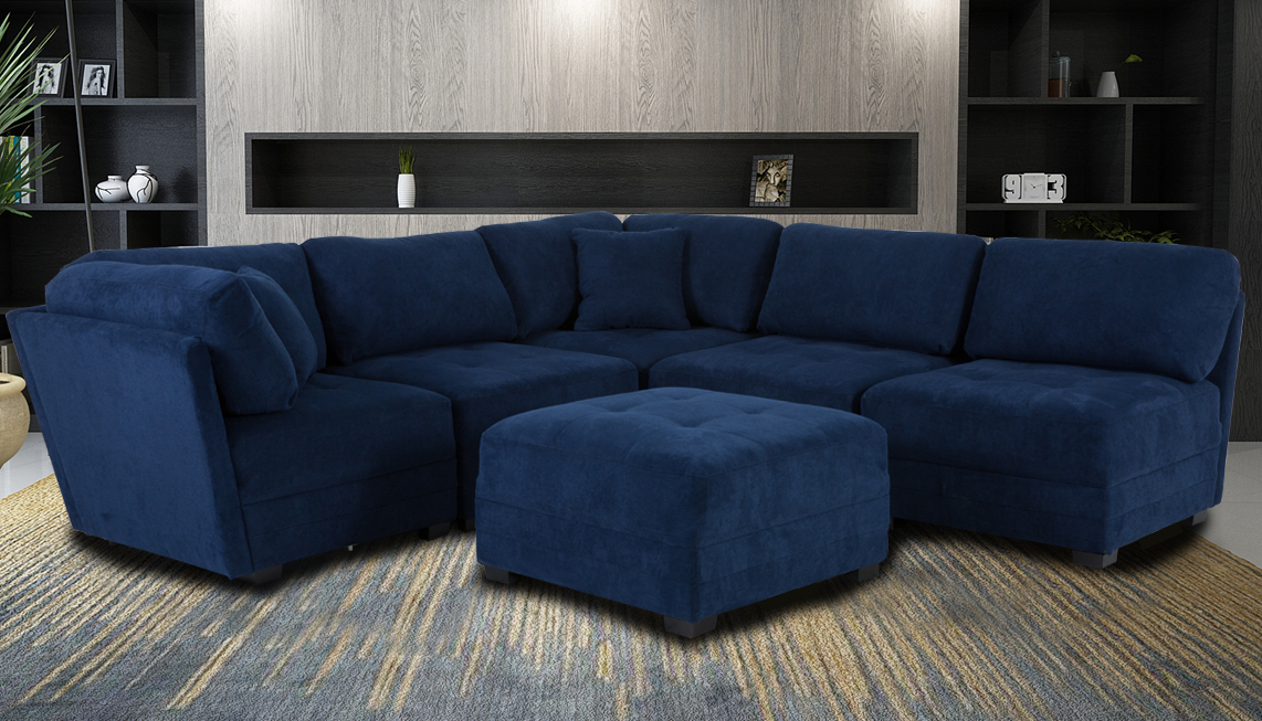 Fabric Sectional Sofa And Ottoman Set