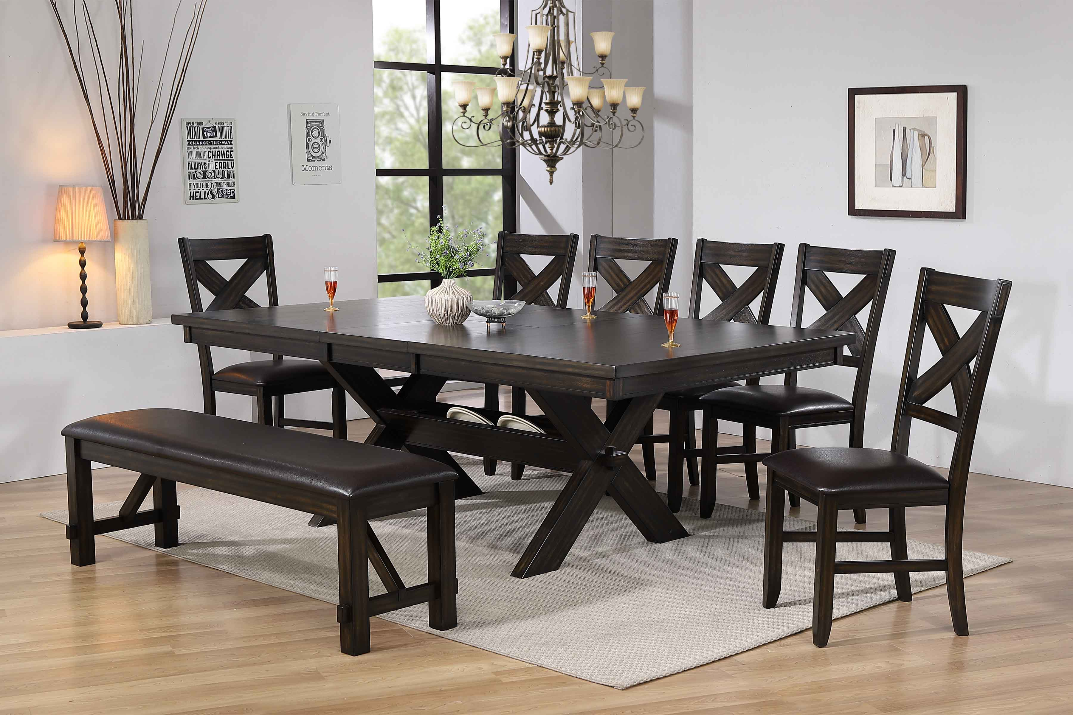Kelly 8pc Dining Table With 6 Chairs Bench Set Furniture Distribution Center